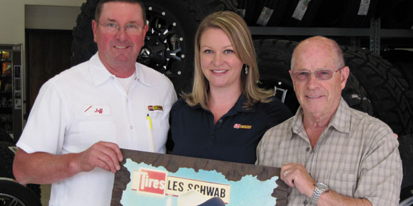 Three generations of Les Schwab employees: Christy Davison, her father Jeff James and her grandfather Gary Brown.