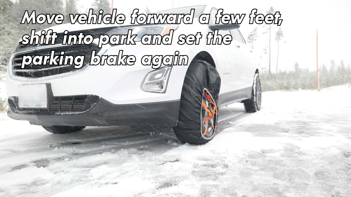 Move vehicle forward a few feet, shift into park and set the parking brake
