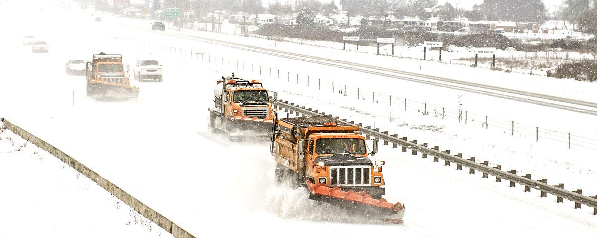 Convoy of snow plows
