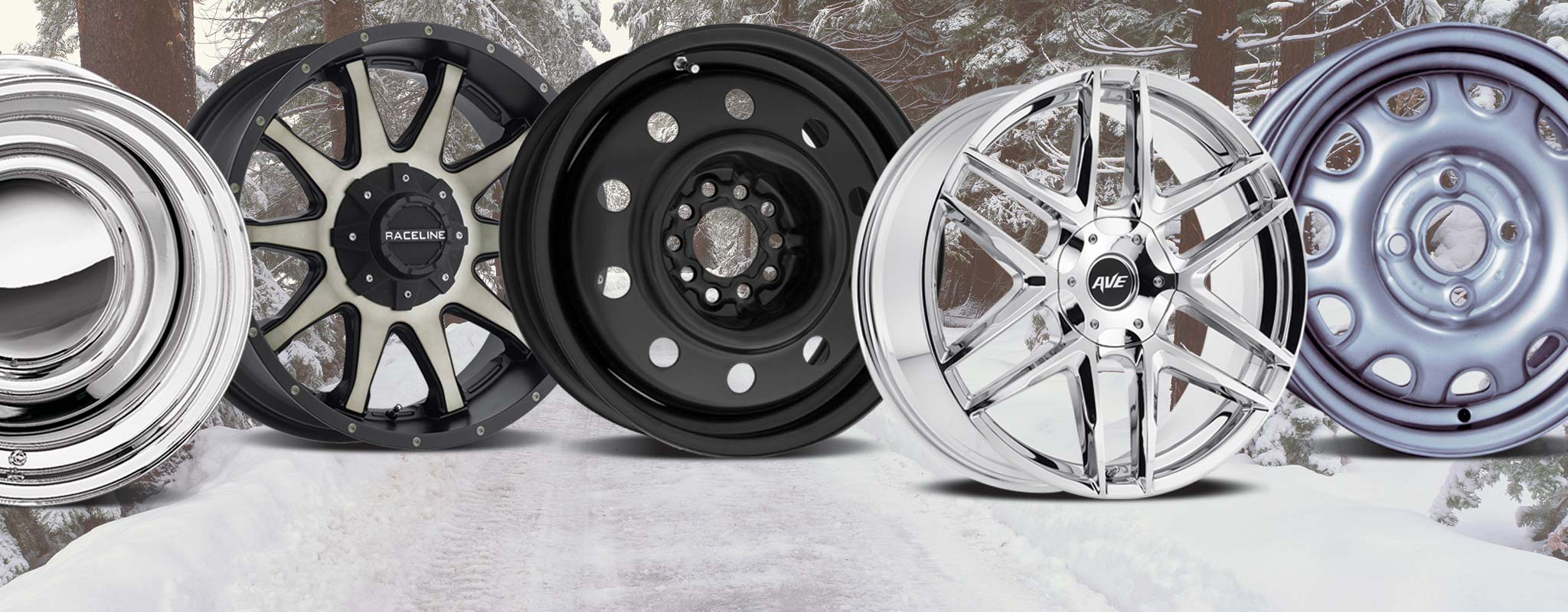 A selection of aluminum and steel wheels.