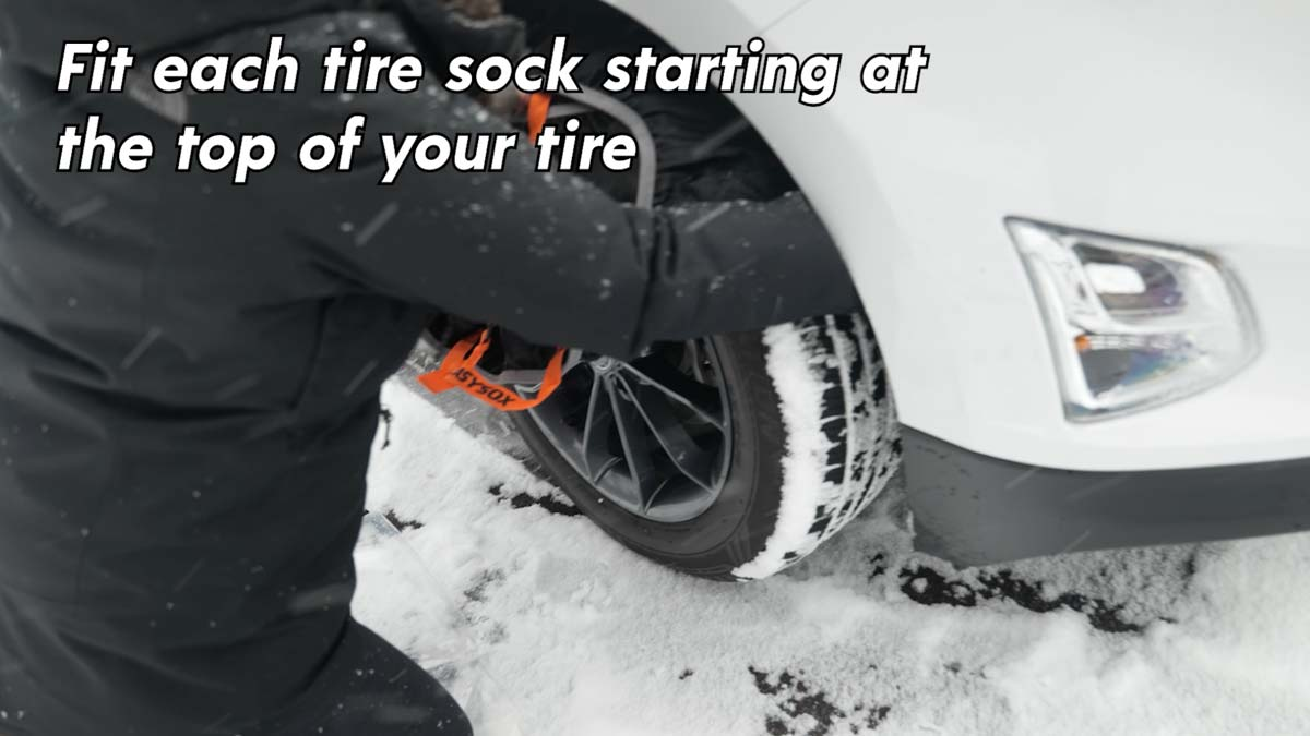 Fit each tire sock starting at the top of your tire