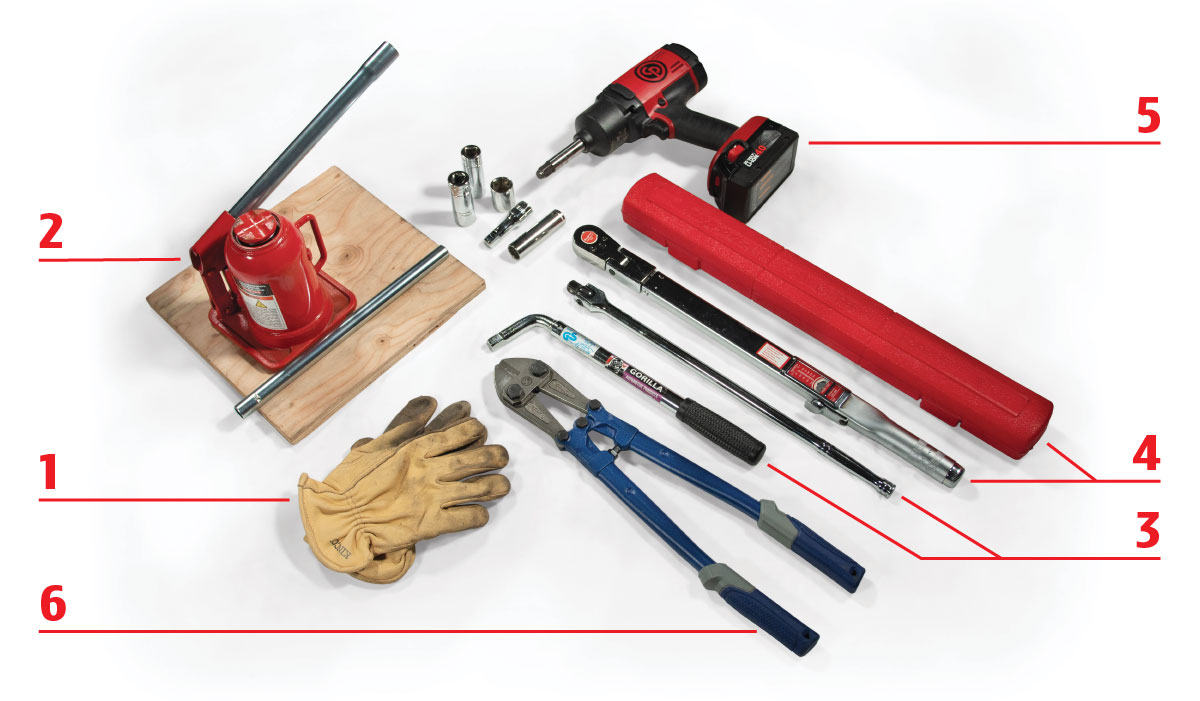A selection of tools to use when changing a trailer or RV tire.