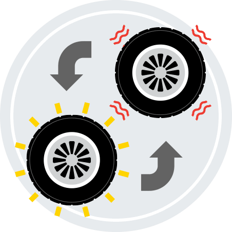 An illustration of a damaged tire being swapped out for a new tire.