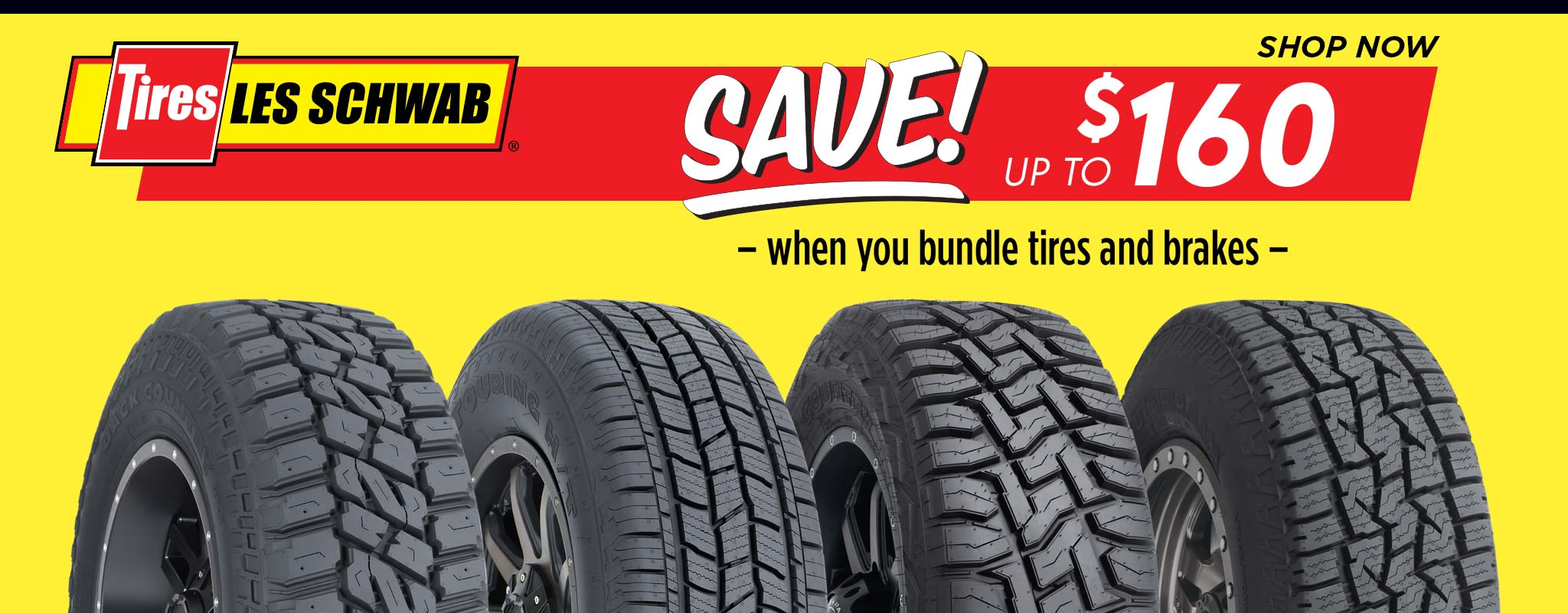 Red and ywllow background with $160 off tire and brake offer
