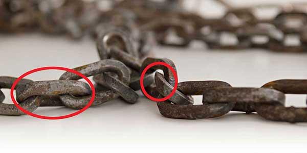 Worn tire chains.