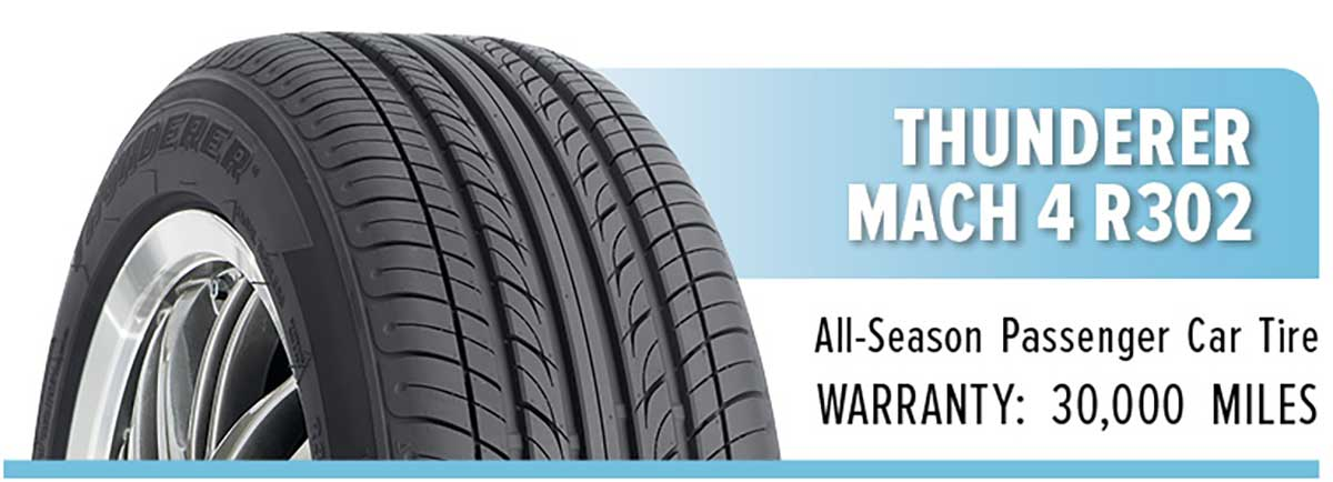 Thunderer Mach 4 R302 tire with 30,000 mile warranty