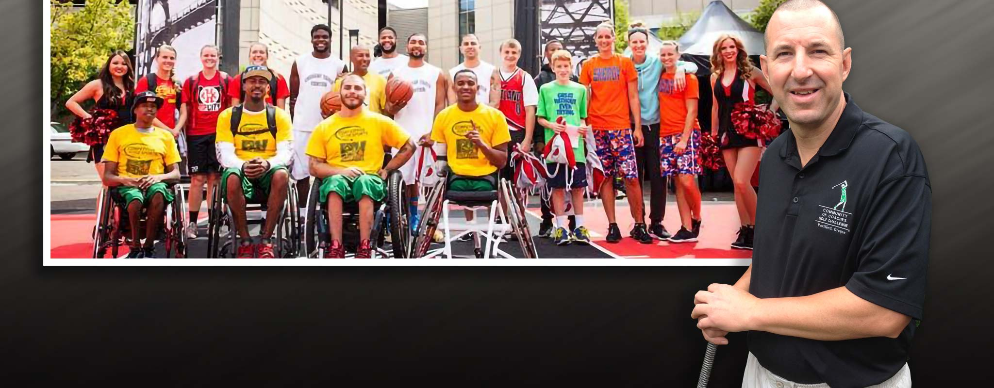 Mark Eberhard and Special Olympics competitors lined up for a photo.