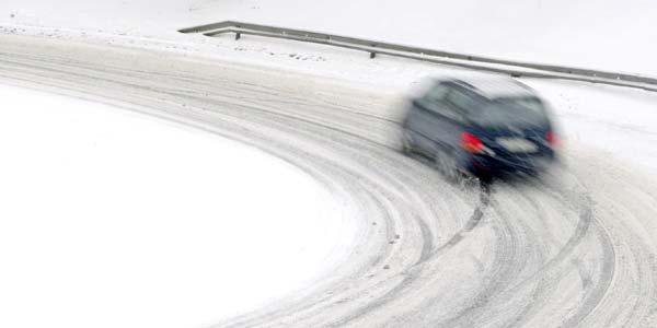 Car on a snowy winter road