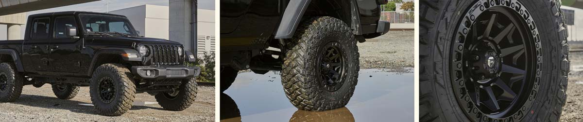 Traction Tire Mounted on Jeep with black wheel