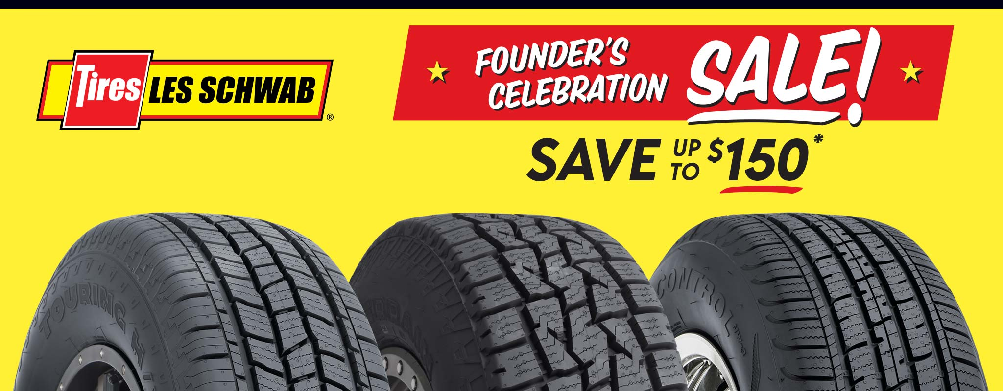 Red and yellow background with tires with Founder's Celebration message