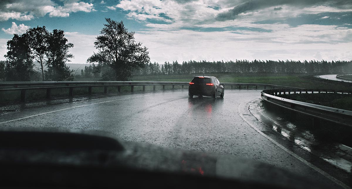 Car on wet road