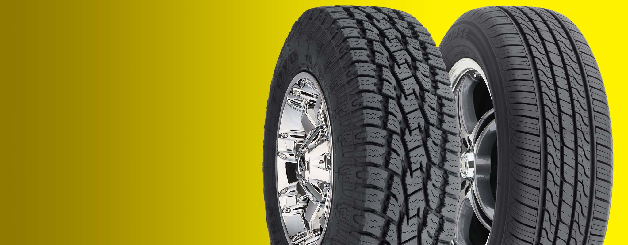 Tires on white background