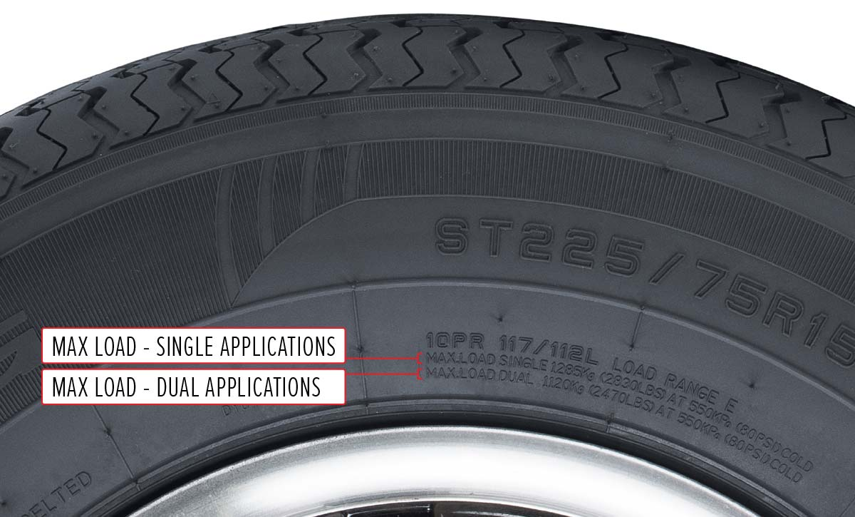 Sidewall of tire with max load called out for single and dual applications.