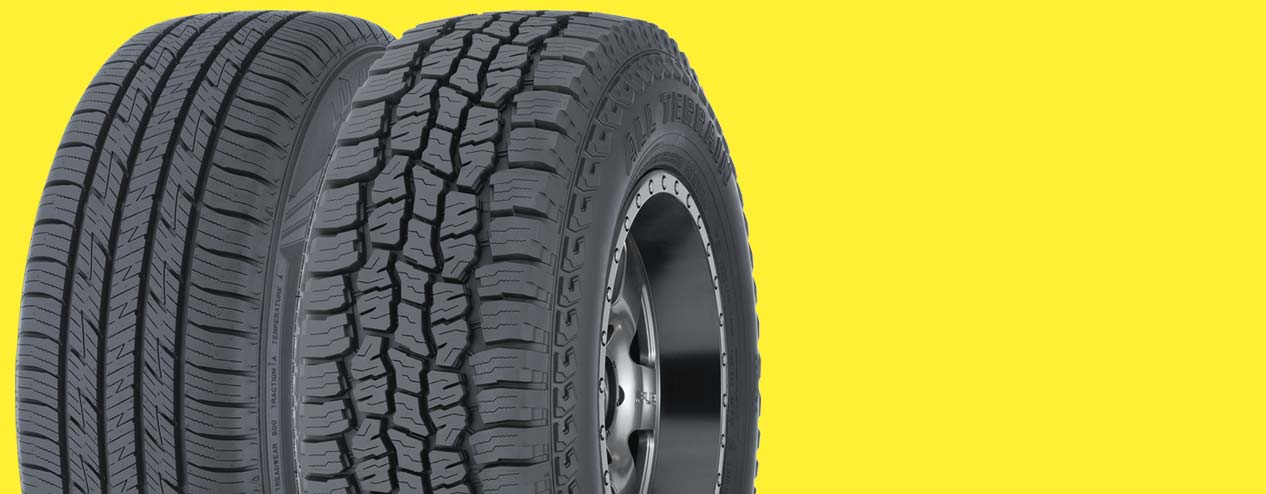 Two tires on bright yellow background