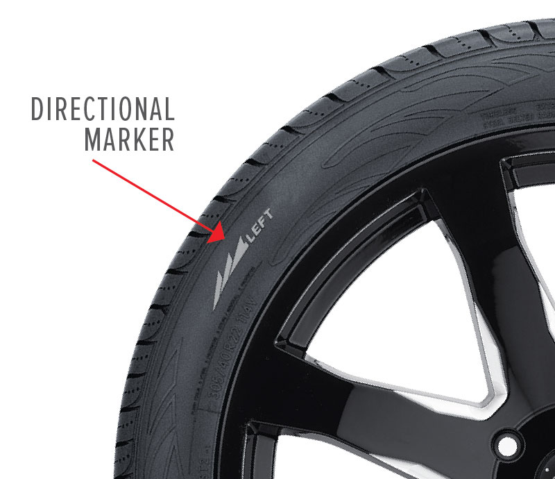 directional tire sidewall marker