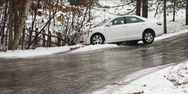 A car in the ditch after sliding off an icy road.