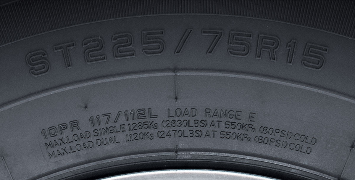 Trailer tire sidewall showing the right tire pressure