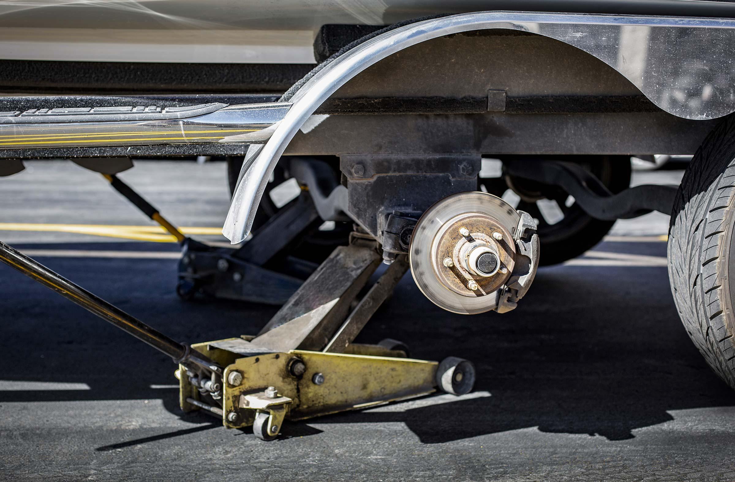Trailer on jack with wheel hub exposed