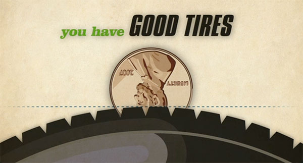 test tread depth with a penny test