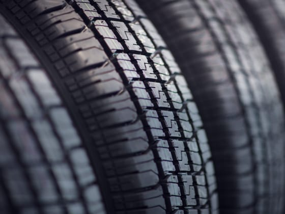 A close-up of a rack of tires.