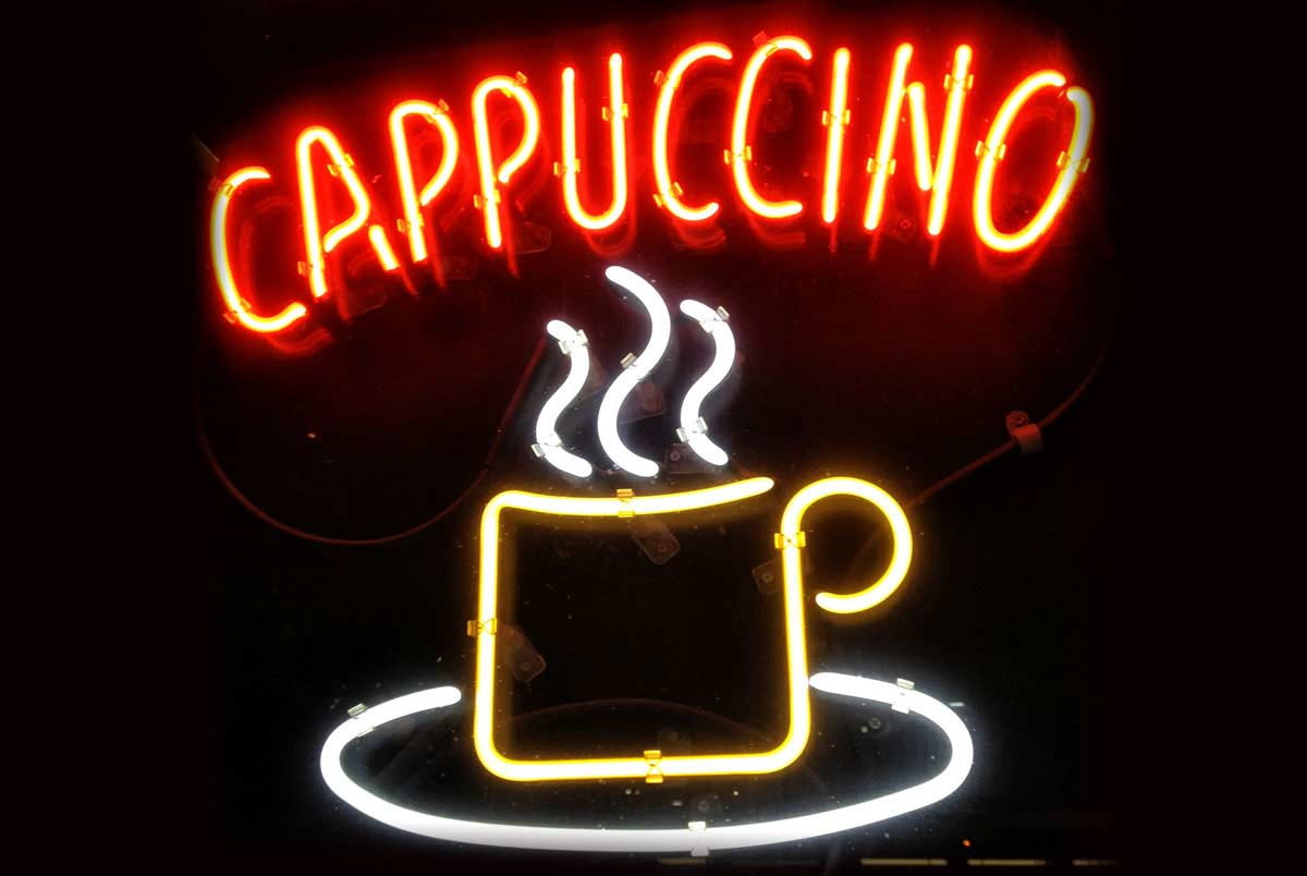 Neon sign with coffee cup