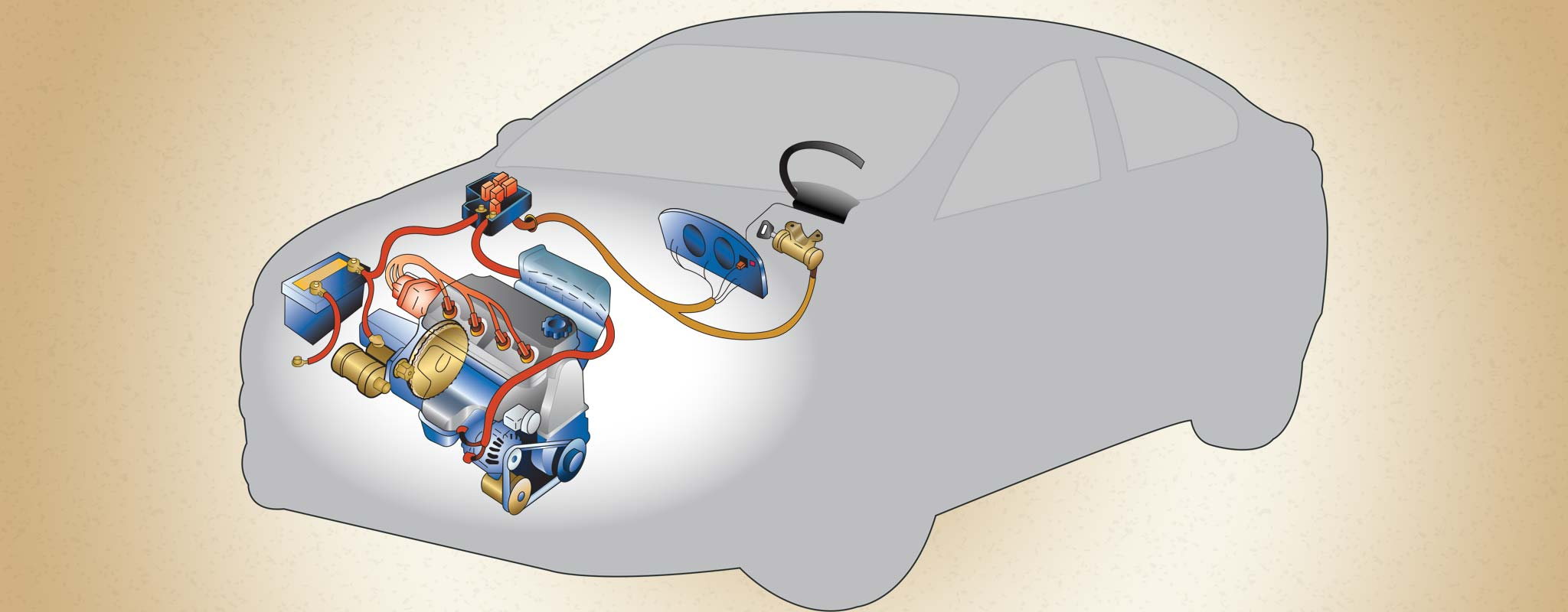 An illustration of a cars electrical system.