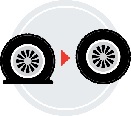 An illustration of a flat tire and a fixed tire.