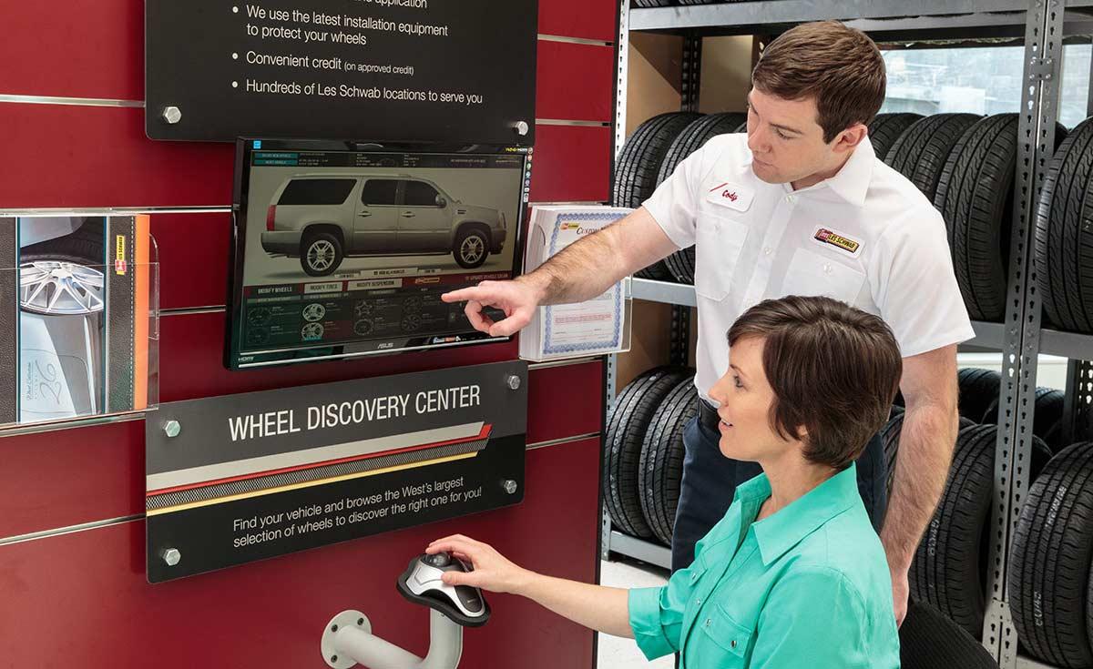 Les Schwab Virtual Wheels kiosk