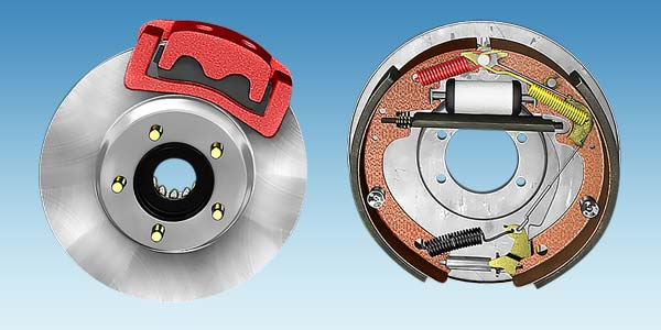 A side by side comparison of a disc brake and a drum brake.