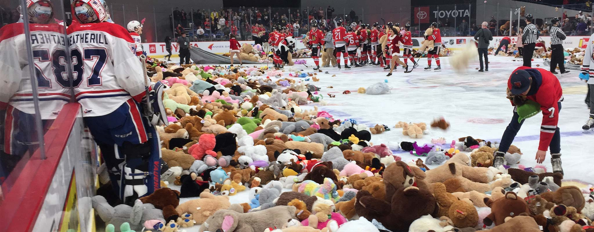 Ice rink full of hockey players and teddy bears after a teddy bear toss event.