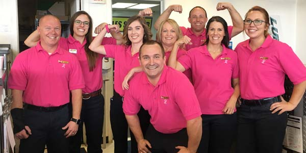 Les Schwab employees wear pink for breast cancer awareness.