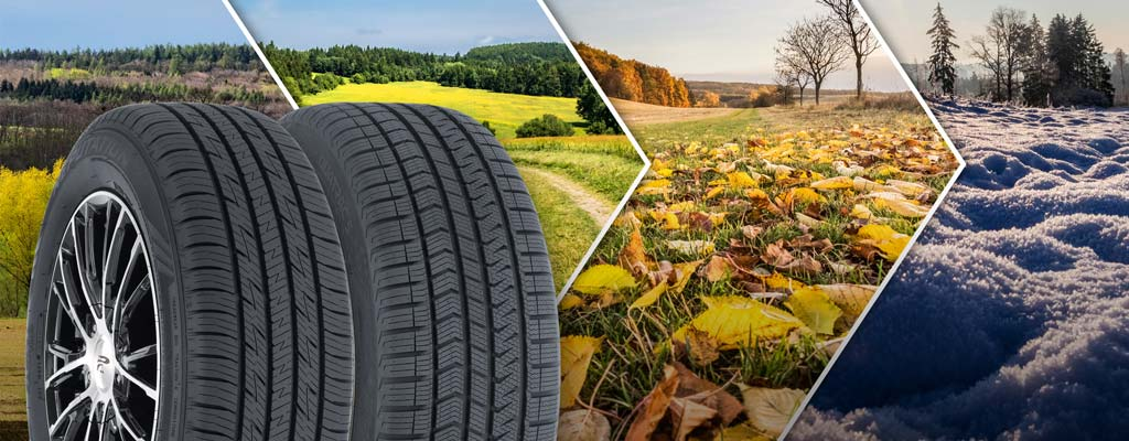 An all-season and an all-weather tire in front of the changing seasons