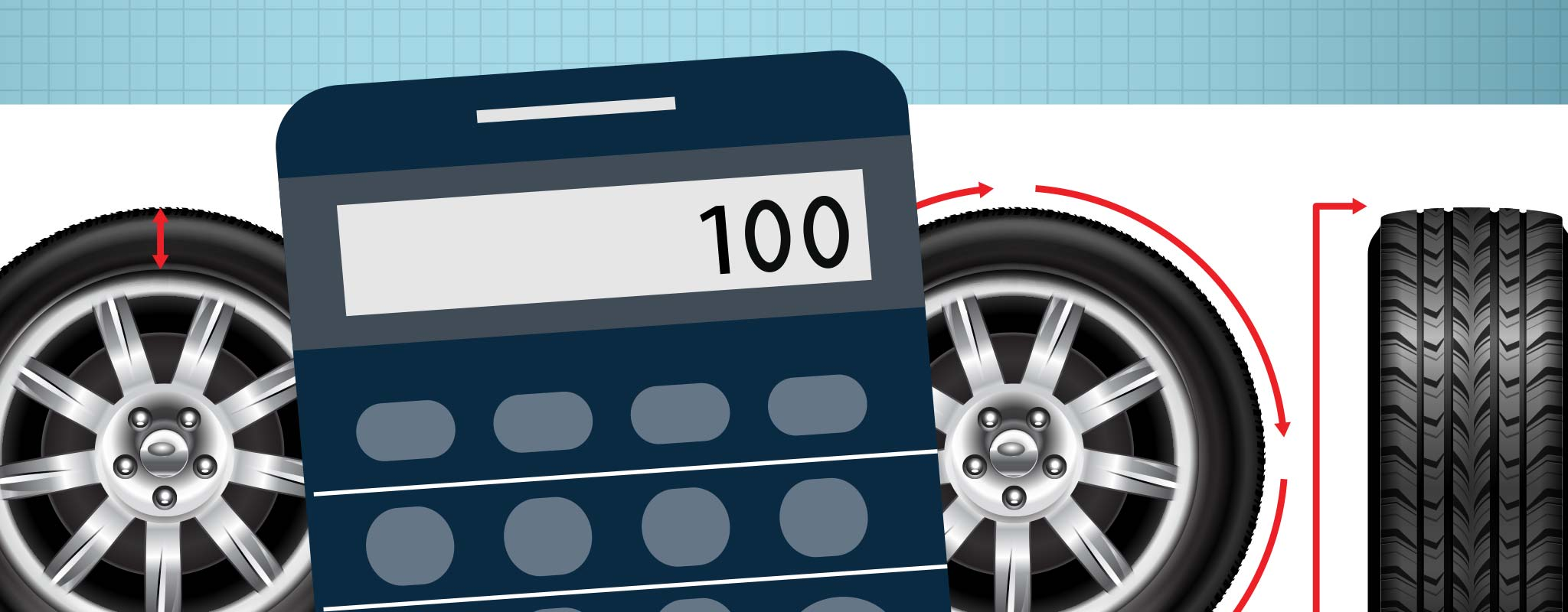 Calculator and tire illustration.