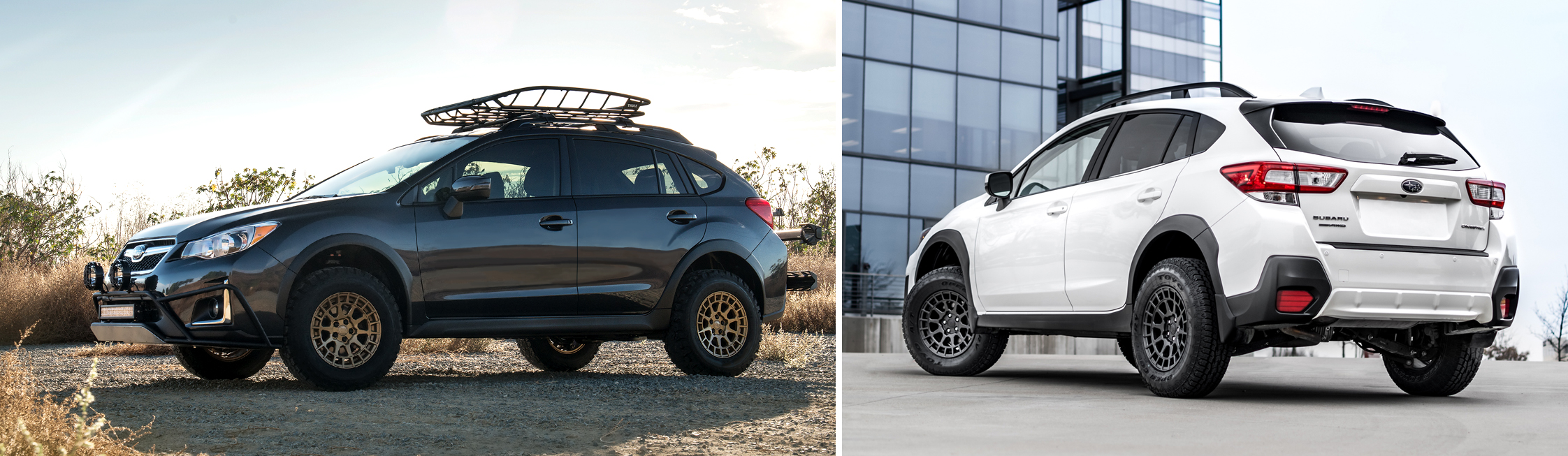 Two different Subaru's set up for Overlanding