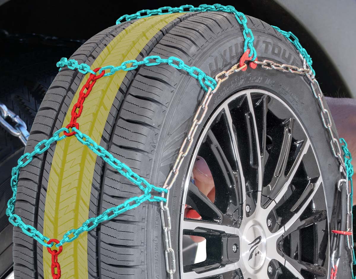 Graphicthat shows the diamond pattern of a properly fitted QuickFIt tire chain
