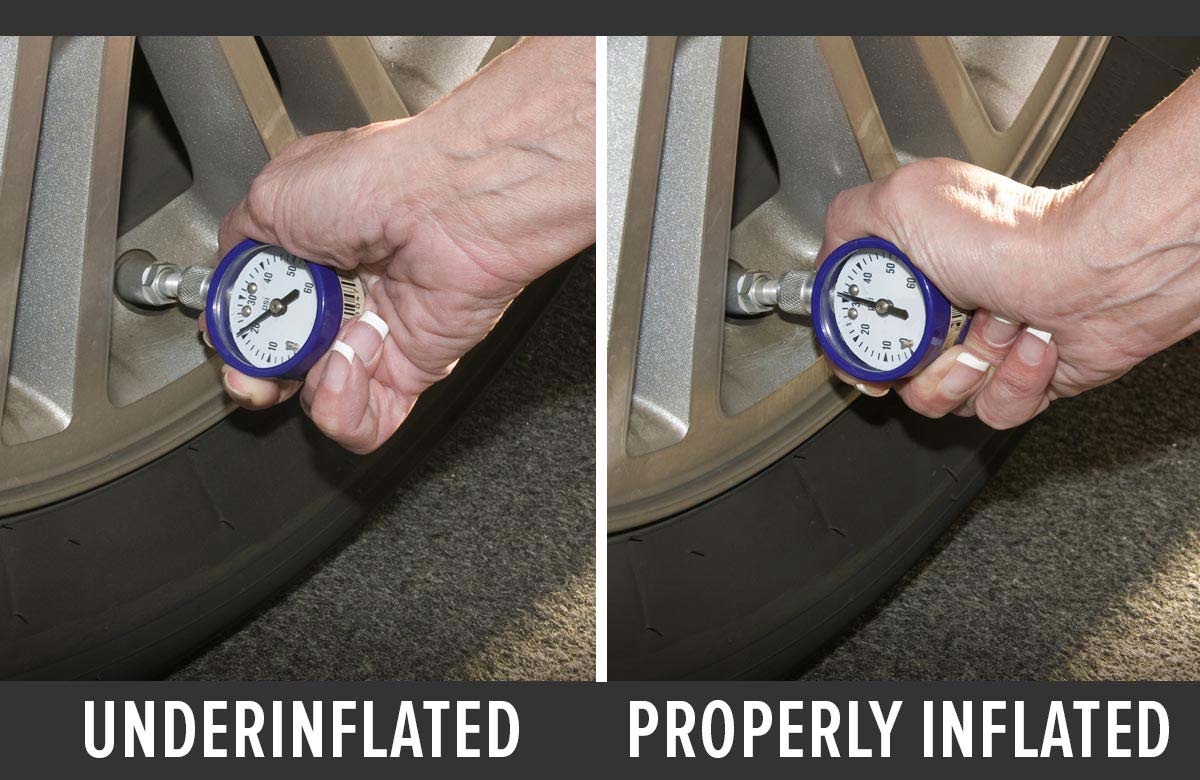 Side-by-side comparison of underinflated and properly inflated tires