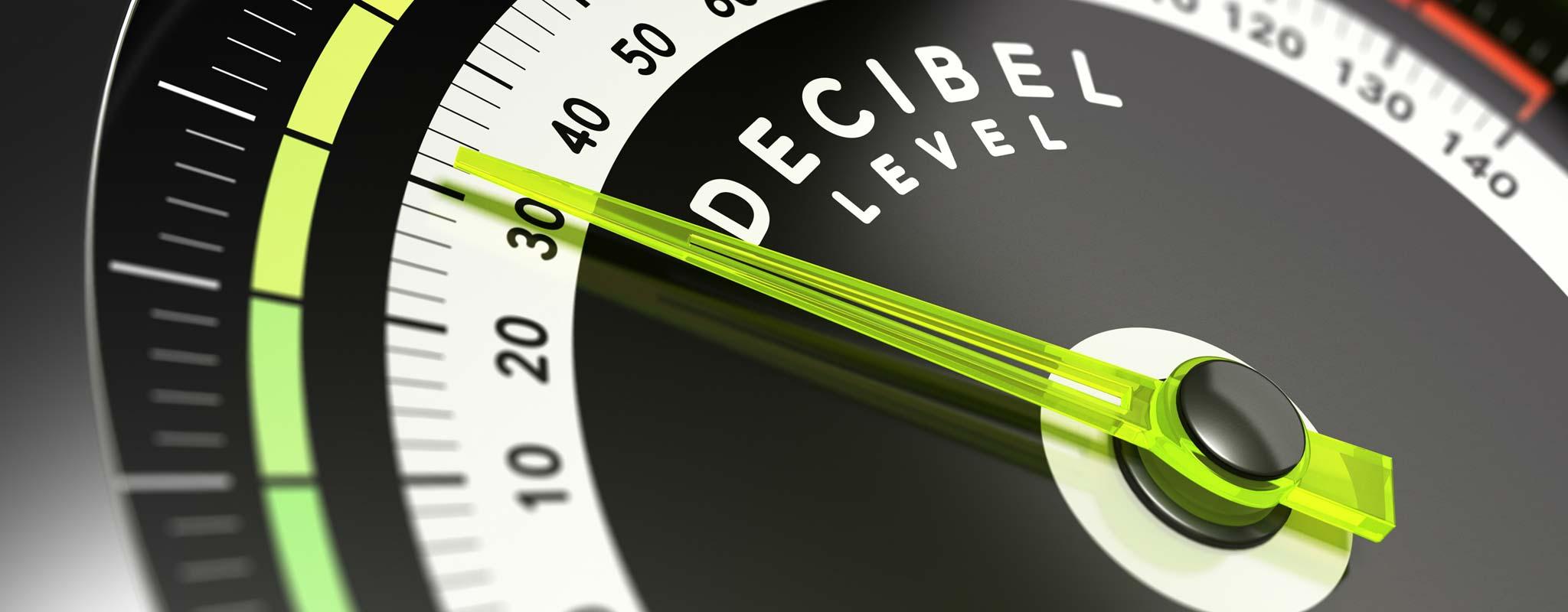 A decibel level gauge at 30 decibels.