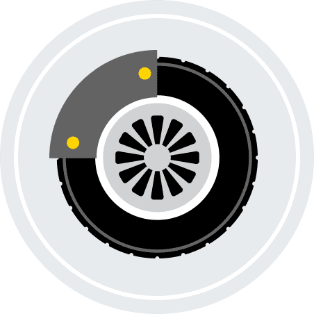An illustration of a brake on a tire.