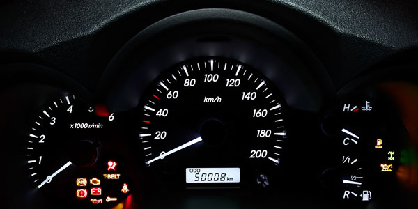 Dashboard with odometer