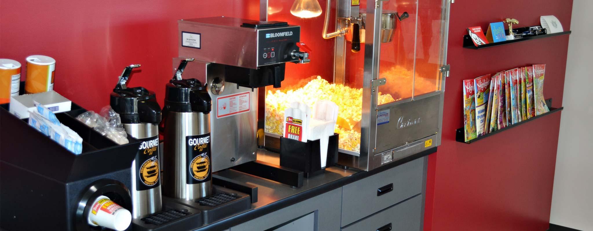One of many Les Schwab's signature popcorn machines.