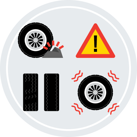 An illustration showing a tire hitting a rock along with a tire that's vibrating.