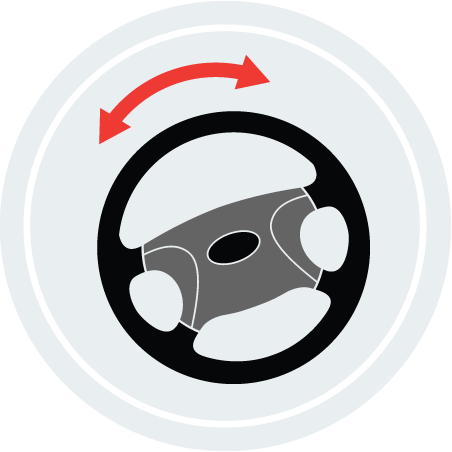 An illustration of a steering wheel with an arrow pointing side to side.