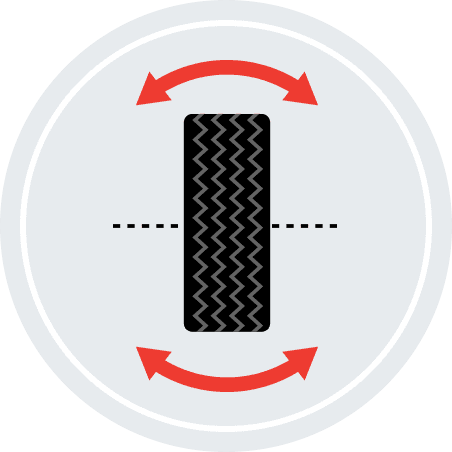 An illustration of a tire bracketed by curved double-sided arrows.