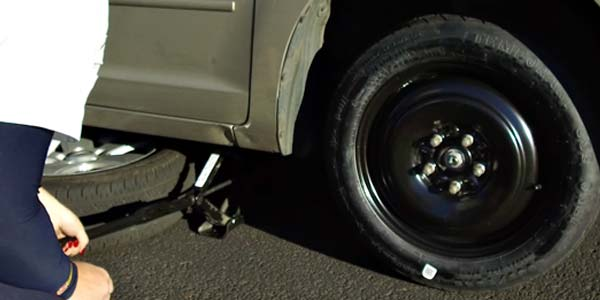 A small emergency flat tire.