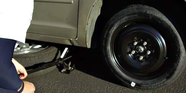 A small emergency flat tire.