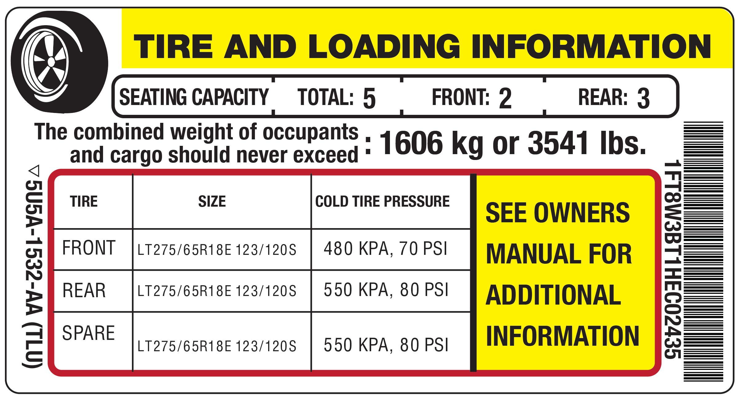Vehicle door placard showing front, rear and spare tire cold tire pressure.