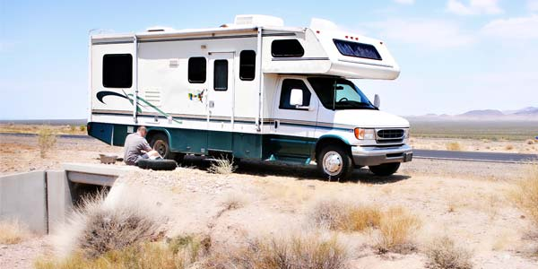 Motorhome driving near Monument Valley