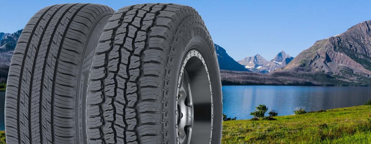 Many Glacier Park in summertime with two tires.